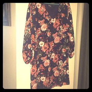 Navy Blue Floral Print Dress